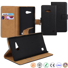 book style real cow leather mobile phone case for Nokia Lumia 730