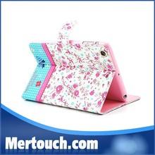Flower diamond Book style case for iPad mini case Ultra thin pu leather case for iPad mini protector