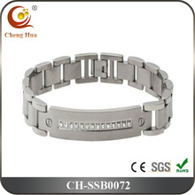 316L Stainless Steel ID Tag Bracelet With Cubic Zirconia Crystals