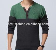 wholesale fashion color block button up mens make woolen sweater