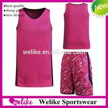 2015 customized basketball jersey pink top quality basketball uniform wholesale cheap camouflage short basketball jersey best