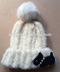Super Fashion Lovely Dog Application Rib Knitting Women's Fold Cuff Beanie Hat