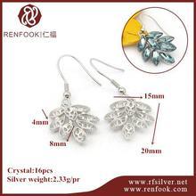 RenFook factory direct sale 925 sterling silver earring hook wire crystal mounting