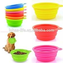 Hot sale Cute Foldable Dog Cat Pet Silicone Travel Feeding Bowl