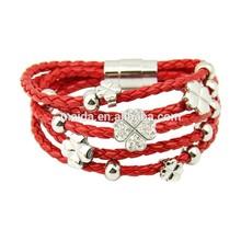 2014 top saler high quality red braid wrap leather bracelet,magnetic leather bracelet