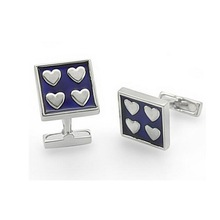 Navy Blue Enamel (Epoxy) Rhodium Plated Square Cufflinks with Heart Pattern