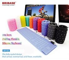 BR109 Hot Selling !! wireless silicon wireless flexible keyboard