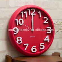 red 3d led wall clock morden design