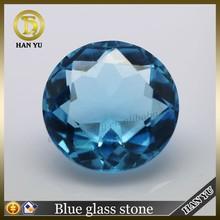 Facet glass stone blue 12mm diamond cut glass gems