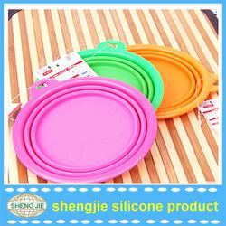 Silicone Pet Expandable/Collapsible Plastic Pet bowl Travel Pet Food Bowl