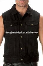 wearproof black denim vest Adults wear-resisting black denim vest outer wear wearproof jean vest men