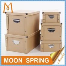Moonspring custom folding brown kraft paper storage box,cardboard storage box