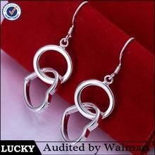 Solid 925 sterling silver heart earrings,heart shaped earrings