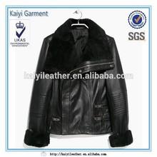 Wholesale black biker fur leather jacket for ladies