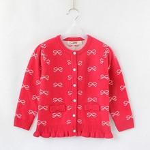 Fashion ruffles hem girls woolen long cardigan sweater