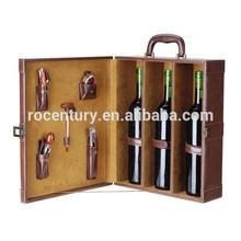 custom 3 bottles leather wine carrier