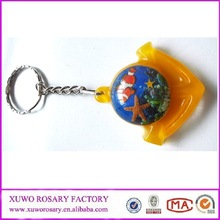 Orange color crystal alloy keychain with creative style