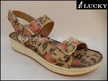 New design fashion 2015 flat summer ladies sandals / no brand sandals women / sexy flower sandals prints