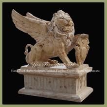 Flying Lion Garden Decorative Travertine Outdoor Statues