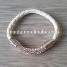 2014 hot sale men bracelet leather, crystal pave clasp mens leather bracelet
