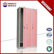 lovely furniture 3 door metal clothes locker in pink