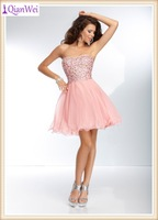 2015 fashion strapless pink beaded western style cocktail dress
