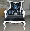el patrón de flores de terciopelo blanco marco de madera del brazo hotel silla xy0038