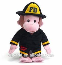 monkey plush toy/stuffed plush fireman monkey/plush monkey with fireman