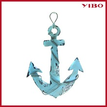 "14.32L"" Vintage Metal Aquamarine Anchor Metal Wall Art"