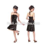 Formal Sequin Dresses Short Frock Strapless Vestidos Casuales Tea Length Black Fashion Evening Dress
