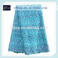 2015 novo produto de alta qualidade do algodão bordado africano renda guipure tecido com jóias para a mãe da noiva vestido curto