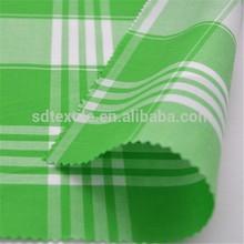 100% cotton poplin check plain white&green yarn dyed fabric for garment