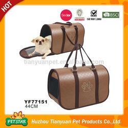 PU Leather Paw Printed Luxury Dog Travel Bag