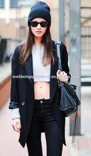 Girls custom 100% cotton plain white spring leisure fashion crop top