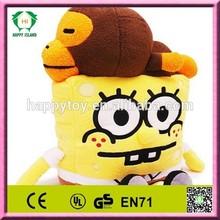 HI CE cute sponge bob baby plush toy, sponge bob cartoon toy,stuffed spong bob plush toy