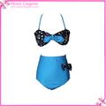 bowknot azul biquíni alta até a cintura
