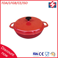 Round low enamel cast iron cookware