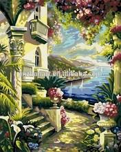 Flower Yard around the Old Castle DIY Digital Painting