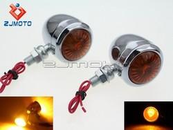 ZJMOTO Motorcycle Turn Signal Lights Indicator Lamp Amber Choppers Classic Wide Glide Turn Signal Blinker Light Turn Lamp