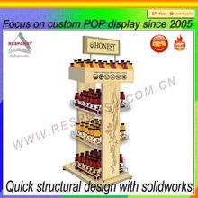 OEM POP free standing floor solid wood beverage rack shelf