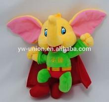 bright colour Flying elephant toy model , coat elephant stuffed plush