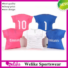 100% polyester custom design fashion bolster coloful sublimation printed soft soccer pillow real madrid pink blue soccer cushion