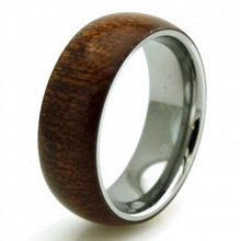 2015 Alibaba Wholesale Stainless Steel Fashion Wood Ring