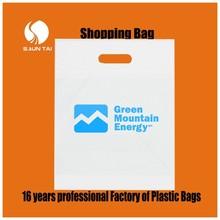 Cheap die cut plastic shopping bags/folding shopping bag/HDPE biodegradable plastic bag