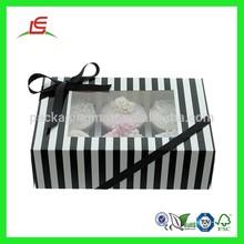 Q962 Luxury White And Black Stripe Cake Box With Window, Holds 6 Cupcake Box