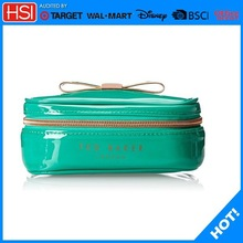 professional soft side makeup case,green bow makeup trolley case,plastic makeup case