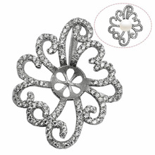 Beadsnice ID30730 925 silver pendant sets jewelry wholesale flower 30x24.5mm fit 7.8x7.8mm round jewelry settings and mountings