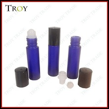 1/3oz frosted glass roll on bottle with plastic roller ball and black cap