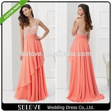 Beautiful Beaded Bodice Cap Sleeve Chiffon Peach Mother Of The Bride Dresses