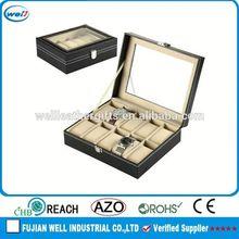 Hot sales black fake leather watch box